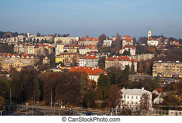 Prague, Czechia - historical residential district in Prague,...