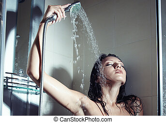 Shower - Young wet lady indoors taking shower