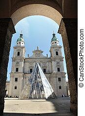 el, barroco, cúpula, catedral, Salzburg, Austria