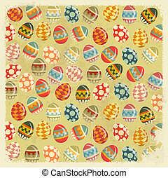 Easter Eggs - old Easter background in vintage style -...