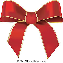 Red ribbon - Bow of red ribbon decorated by a golden hem and...