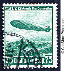 Postage stamp Germany 1936 Hindenburg, airship - GERMANY -...