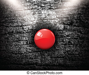 Grunge background with red alarm button, vector illustration...