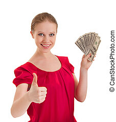 beautiful successful young woman in a red blouse shows a...