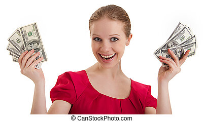 pretty funny young woman in a red blouse holds the money,...