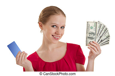 beautiful young woman chooses between a credit card, cash...