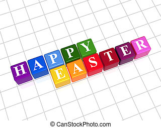 happy easter - 3d color cubes with text happy easter
