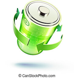 battery icon - Vector illustration of green battery icon for...