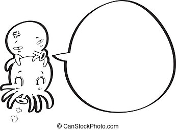 octopus cartoon with speech bubble