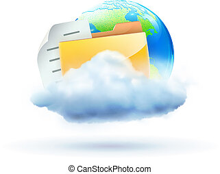 cloud concept icon - Vector illustration of cool global...