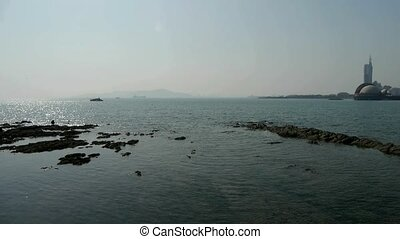 Panoramic views of Qingdao Seaside.