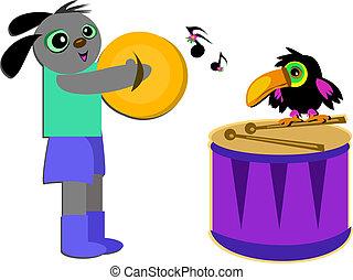 Musical Dog and Toucan Bird