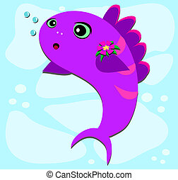 Fish Bubbles and Flower - Here is a cute Fish blowing...