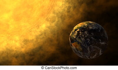 Earth and glowing Sun - Animation of planet Earth and...