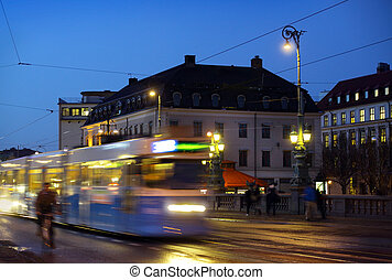 Gothenburg at night Some trams and people in motion