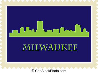 Milwaukee stamp - City of Milwaukee high rise buildings...