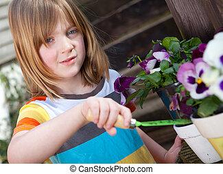 Flowers child gardening bloom