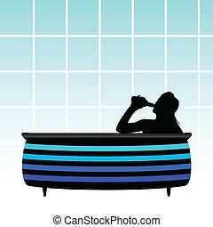 girl in a bathtub drinking