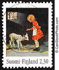 Postage stamp Finland 1993 Girl with Lamb - FINLAND - CIRCA...