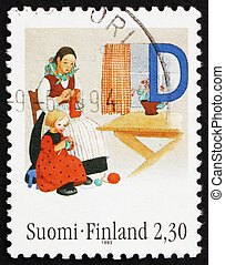 Postage stamp Finland 1993 Mother and Daughter Knitting