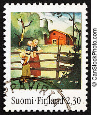 Postage stamp Finland 1993 Mother and Children at Fence