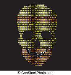 Abstract binary skull on black background
