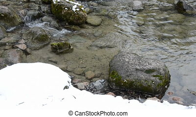 river with snow and spring water - March river with snow and...
