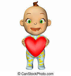 Baby in Love - Illustration of a baby holding a heart...