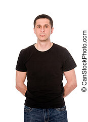 meio, adulto, homem, pretas, T-shirt, isolado, branca, fundo