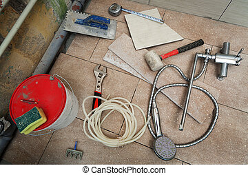 renovation in the bathroom - different tools for renovation...