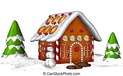 Gingerbread House - Illustration of a Gingerbread House...