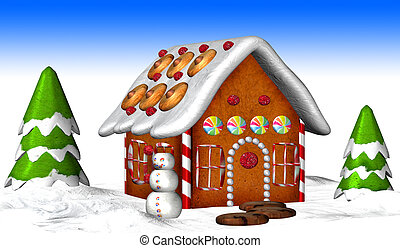 Gingerbread House - Illustration of a Gingerbread House