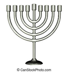 Menorah - Illustration of menorah isolated on a white...