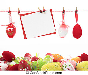 Easter card and eggs hanging on the clothesline