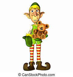 Christmas Elf with teddy bear - Illustration of a christmas...