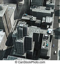 Aerial view of a big city - Urban Rooftops, aerial view of a...
