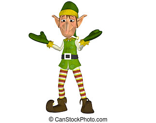 Confused Christmas Elf - Illustration of a confused...