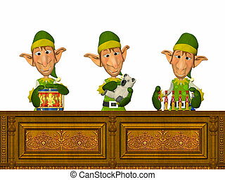 Christmas Elves working - Illustration of three christmas...