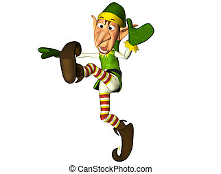 Jumping Christmas Elf - Illustration of a jumping christmas...