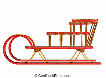 Winter Sleigh - Illustration of a winter sleigh isolated on...