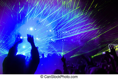 Music festival with laser show