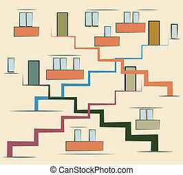 Abstract modern multi storey building