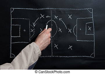Football tactics - Man drawing a soccer game tactics and...