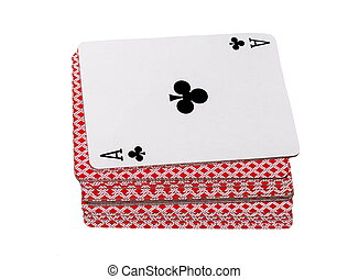 ace and playing cards poker game isolated on white...