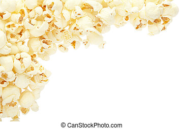 Popcorn frame - Popcorn border isolated on white, clipping...
