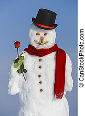 snowman with hat and rose
