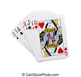 playing cards poker game on white