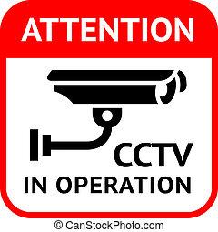 CCTV symbol - Warning Sticker for Security Alarm CCTV Camera...