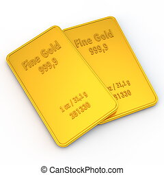 2 Mini Gold Bars - 1 ounce - two small gold bars with the...