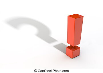 Red Exclamation Mark with Question Mark Shadow - shiny red...